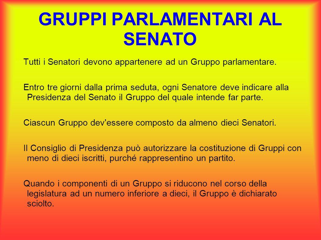 GRUPPI PARLAMENTARI AL SENATO Tutti i Senatori devono appartenere ad un Gruppo parlamentare. Entro tre giorni dalla prima seduta, ogni Senatore deve i