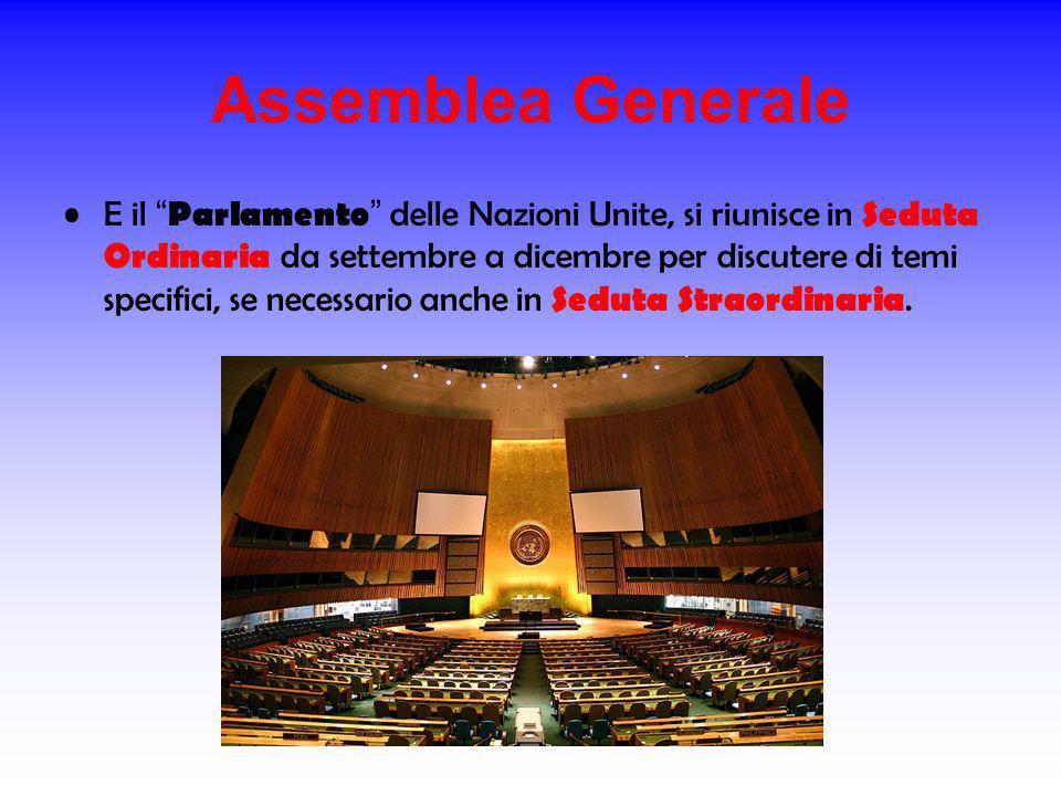 Assemblea Generale E il Parlamento delle Nazioni Unite, si riunisce in Seduta Ordinaria da settembre a dicembre per discutere di temi specifici, se ne