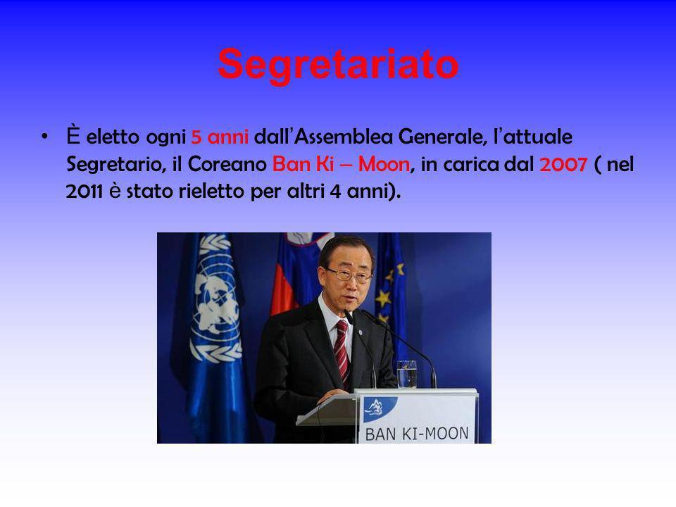 Segretariato È eletto ogni 5 anni dall Assemblea Generale, l attuale Segretario, il Coreano Ban Ki – Moon, in carica dal 2007 ( nel 2011 è stato riele