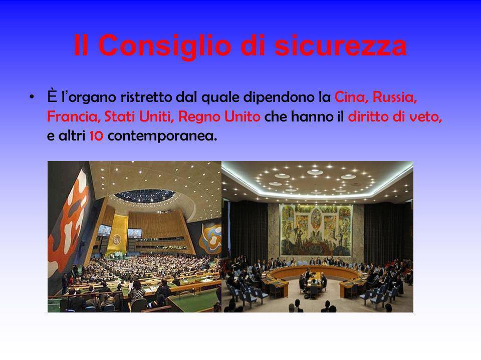 Il Consiglio di sicurezza È l organo ristretto dal quale dipendono la Cina, Russia, Francia, Stati Uniti, Regno Unito che hanno il diritto di veto, e