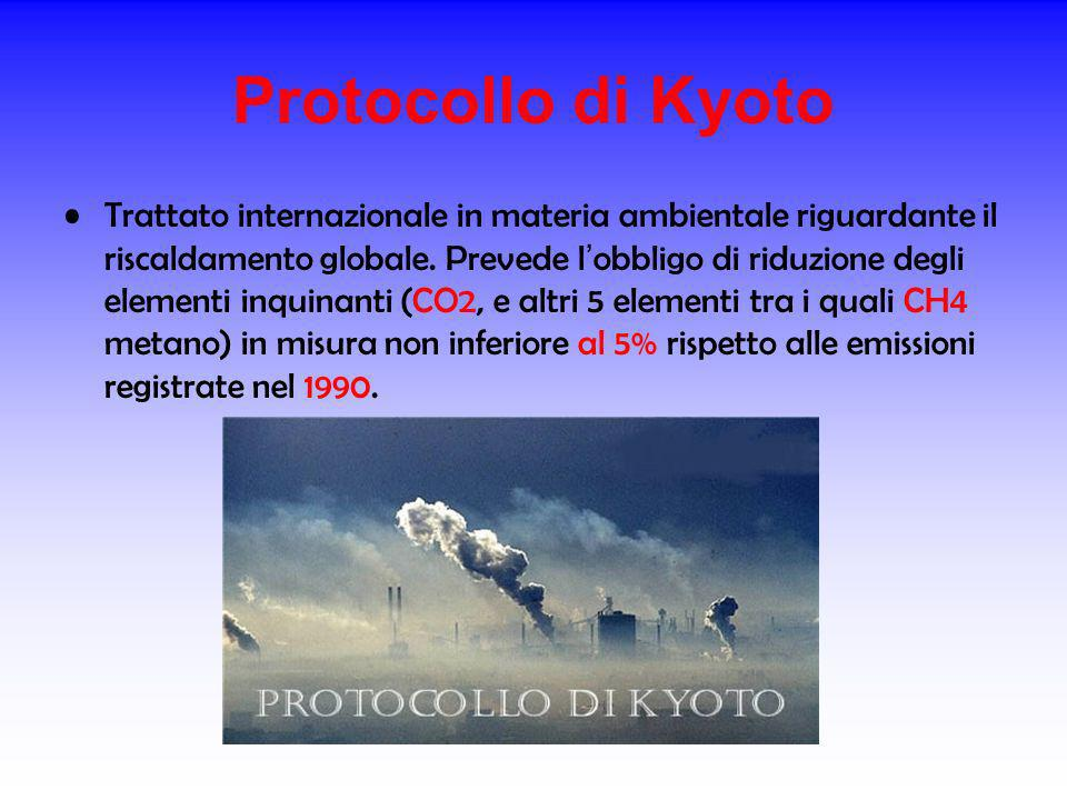 Protocollo di Kyoto Trattato internazionale in materia ambientale riguardante il riscaldamento globale. Prevede l obbligo di riduzione degli elementi