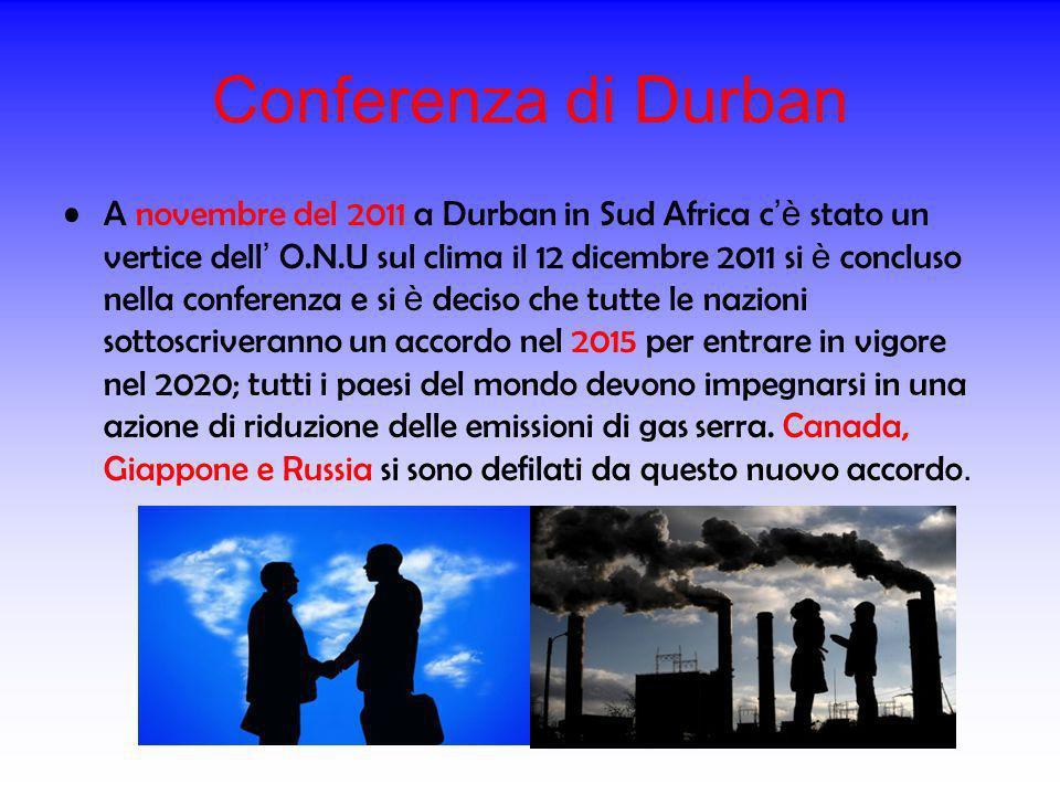 Conferenza di Durban A novembre del 2011 a Durban in Sud Africa c è stato un vertice dell O.N.U sul clima il 12 dicembre 2011 si è concluso nella conf