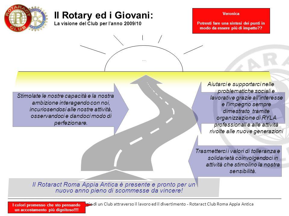 Roma 22 settembre 2009 - Il viaggio di un Club attraverso il lavoro ed il divertimento - Rotaract Club Roma Appia Antica Il Rotary ed i Giovani: La vi