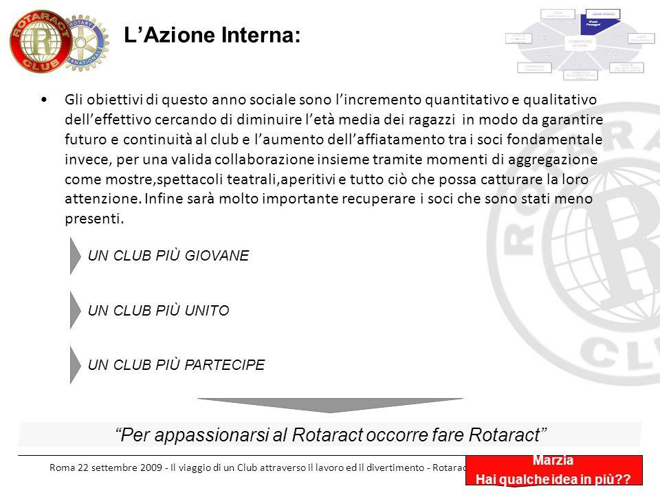 Roma 22 settembre 2009 - Il viaggio di un Club attraverso il lavoro ed il divertimento - Rotaract Club Roma Appia Antica LAzione Interna: Marzia Hai q