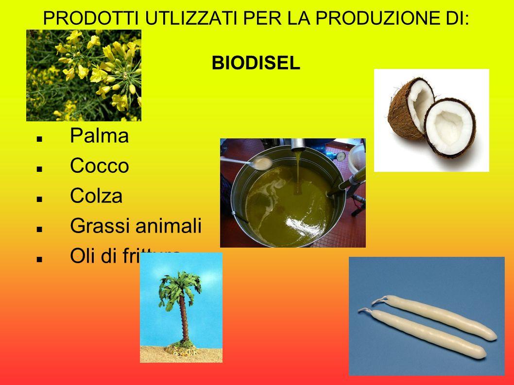PRODOTTI UTLIZZATI PER LA PRODUZIONE DI: BIODISEL Palma Cocco Colza Grassi animali Oli di frittura