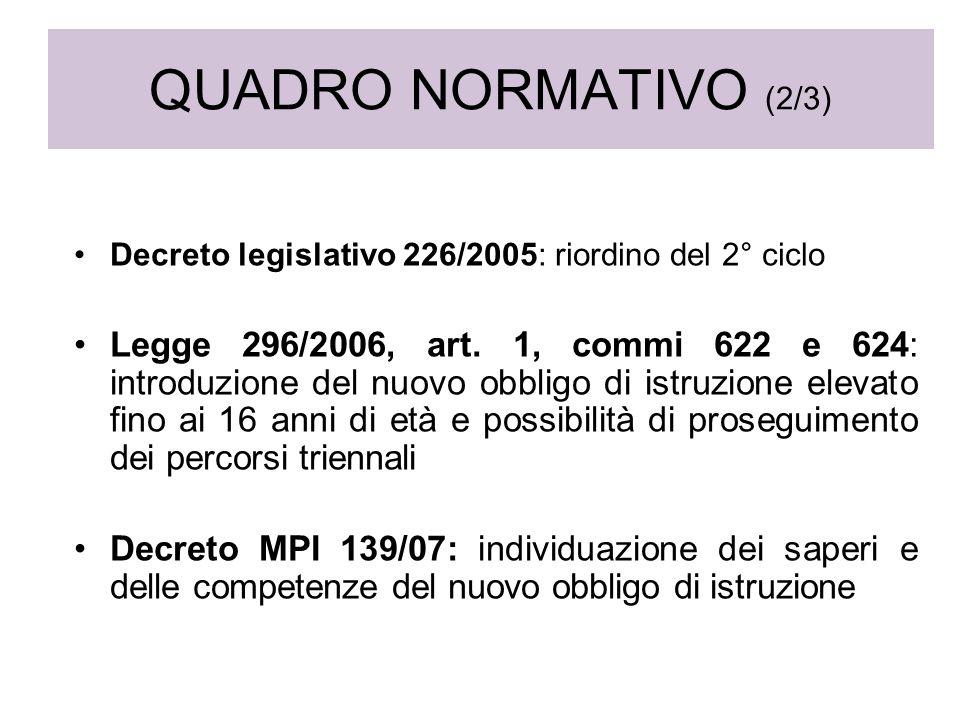QUADRO NORMATIVO (2/3) Decreto legislativo 226/2005: riordino del 2° ciclo Legge 296/2006, art. 1, commi 622 e 624: introduzione del nuovo obbligo di