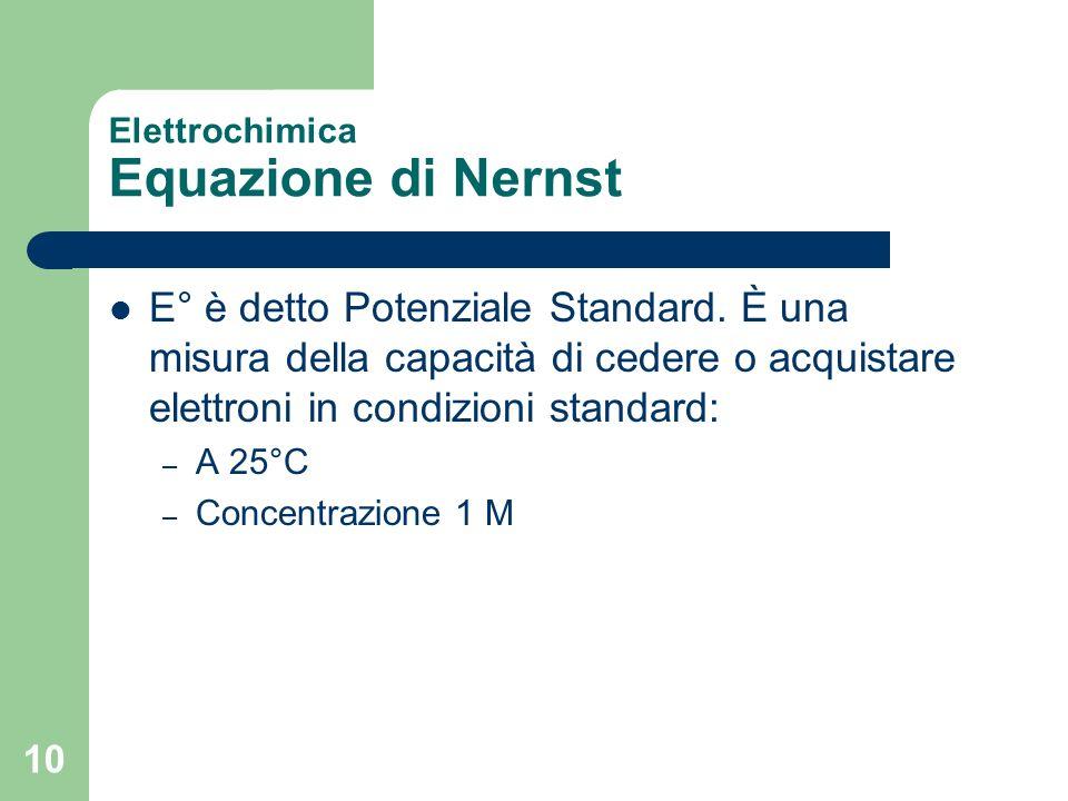 10 Elettrochimica Equazione di Nernst E° è detto Potenziale Standard. È una misura della capacità di cedere o acquistare elettroni in condizioni stand