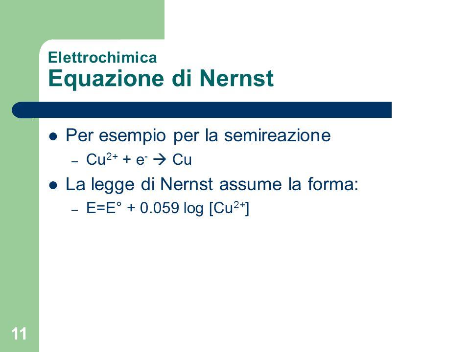 11 Elettrochimica Equazione di Nernst Per esempio per la semireazione – Cu 2+ + e - Cu La legge di Nernst assume la forma: – E=E° + 0.059 log [Cu 2+ ]