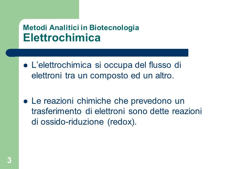 3 Metodi Analitici in Biotecnologia Elettrochimica Lelettrochimica si occupa del flusso di elettroni tra un composto ed un altro. Le reazioni chimiche