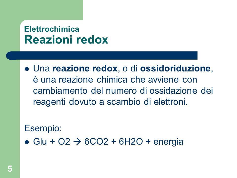 5 Elettrochimica Reazioni redox Una reazione redox, o di ossidoriduzione, è una reazione chimica che avviene con cambiamento del numero di ossidazione