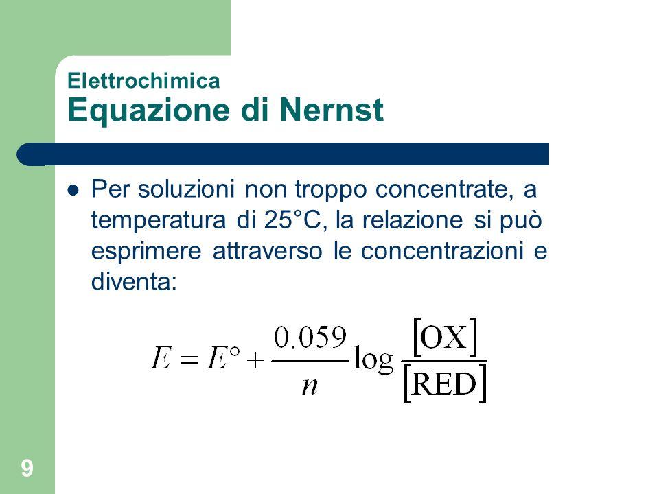 9 Elettrochimica Equazione di Nernst Per soluzioni non troppo concentrate, a temperatura di 25°C, la relazione si può esprimere attraverso le concentr