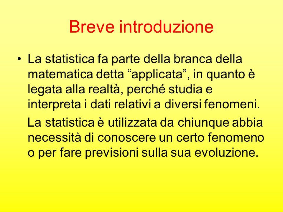 Teoria La statistica studia i fenomeni collettivi cioè fenomeni composti da unita statistiche UNITA STATISTICA: è il singolo elemento su cui si raccolgono informazioni Linsieme delle unità statistiche costituisce luniverso statistico o POPOLAZIONE STATISTICA