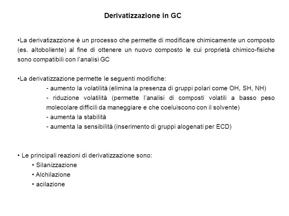 Derivatizzazione in GC La derivatizazzione è un processo che permette di modificare chimicamente un composto (es. altobollente) al fine di ottenere un