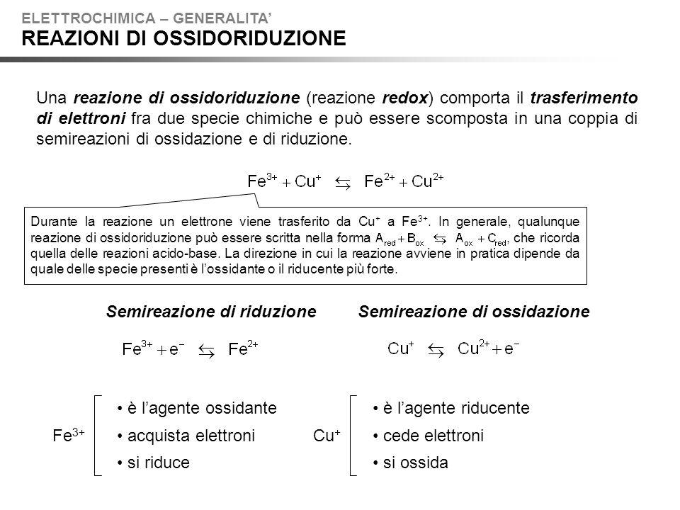 Una reazione di ossidoriduzione (reazione redox) comporta il trasferimento di elettroni fra due specie chimiche e può essere scomposta in una coppia di semireazioni di ossidazione e di riduzione.
