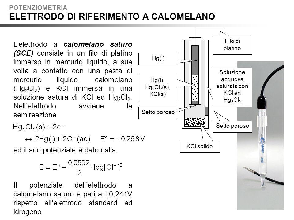 Lelettrodo a calomelano saturo (SCE) consiste in un filo di platino immerso in mercurio liquido, a sua volta a contatto con una pasta di mercurio liquido, calomelano (Hg 2 Cl 2 ) e KCl immersa in una soluzione satura di KCl ed Hg 2 Cl 2.