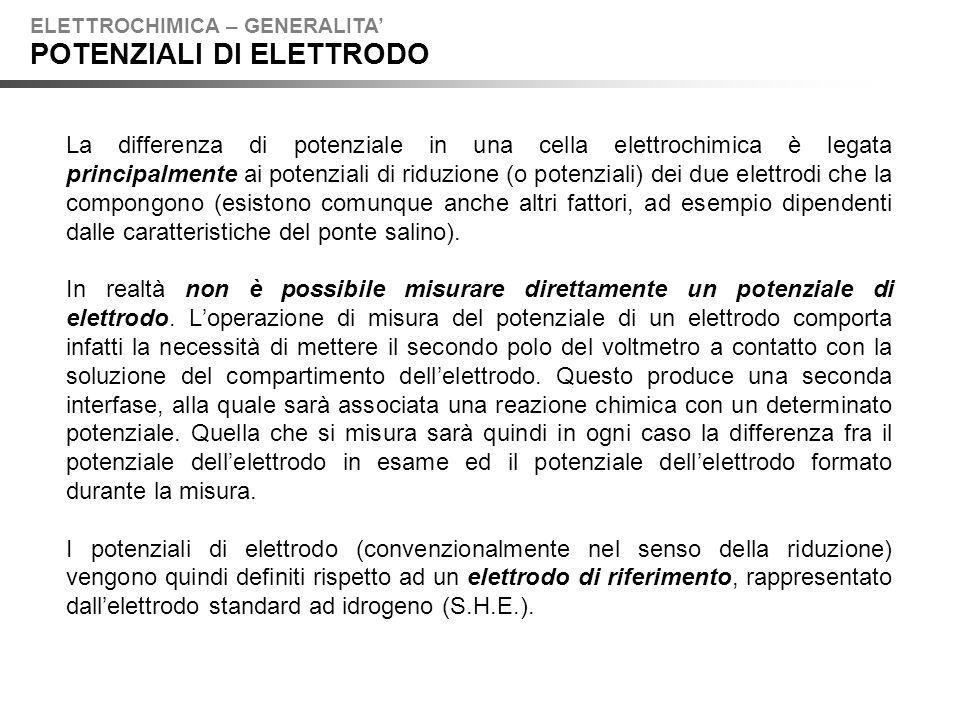 Lelettrodo standard ad idrogeno (S.H.E.) può essere schematizzato come segue: e la sua reazione elettrodica è: Per convenzione, il potenziale di riduzione dellelettrodo S.H.E.