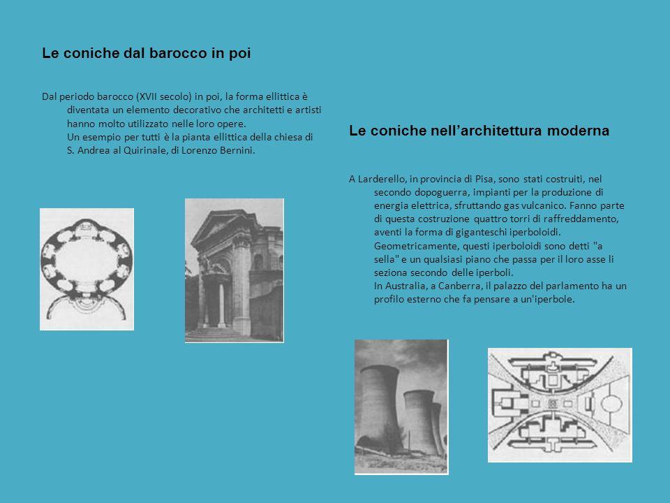 Le coniche e larte IL Barocco Un campo in cui le coniche rivestirono una notevole importanza fu larte, principalmente durante il Rinascimento e il Bar