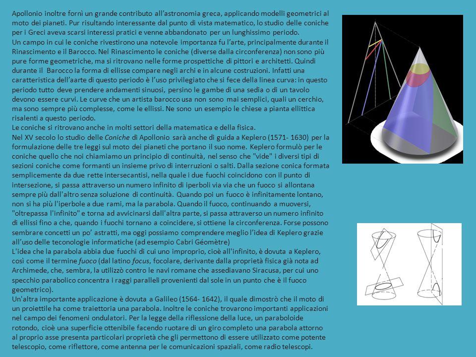 Apollonio inoltre fornì un grande contributo allastronomia greca, applicando modelli geometrici al moto dei pianeti.