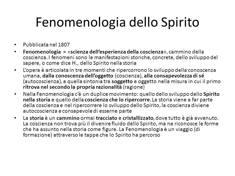 Fenomenologia dello Spirito Pubblicata nel 1807 Fenomenologia = «scienza dellesperienza della coscienza», cammino della coscienza. I fenomeni sono le
