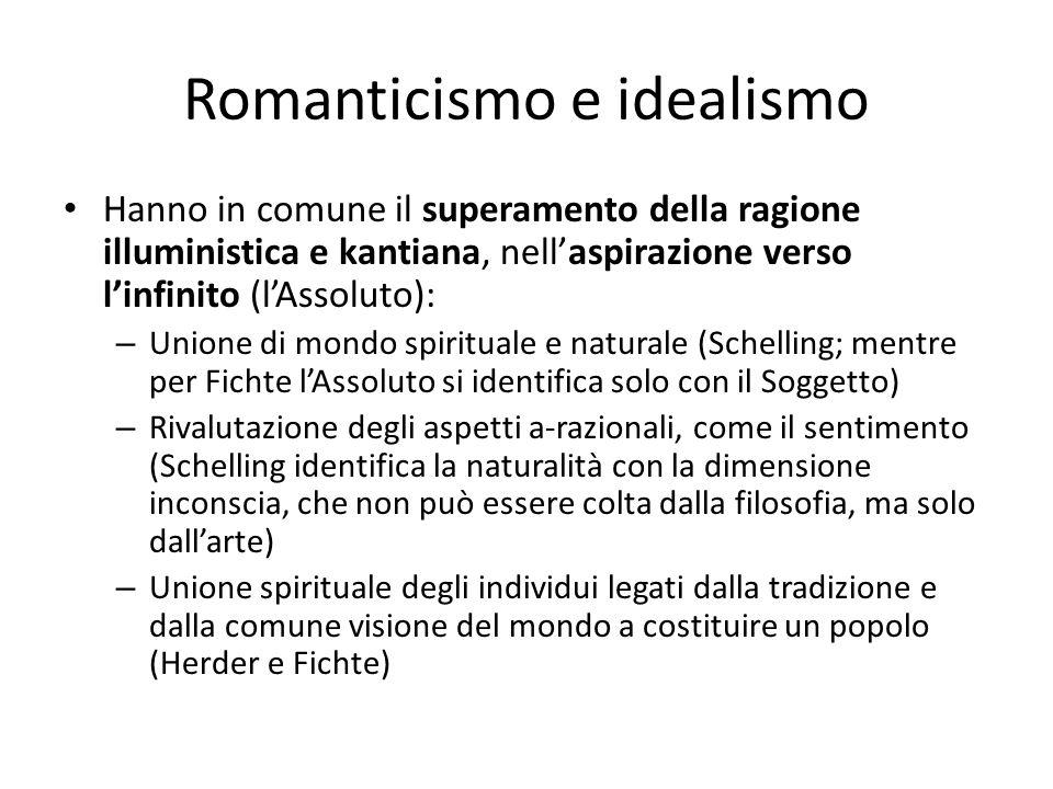 Romanticismo e idealismo Hanno in comune il superamento della ragione illuministica e kantiana, nellaspirazione verso linfinito (lAssoluto): – Unione