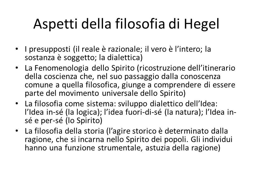 Aspetti della filosofia di Hegel I presupposti (il reale è razionale; il vero è lintero; la sostanza è soggetto; la dialettica) La Fenomenologia dello