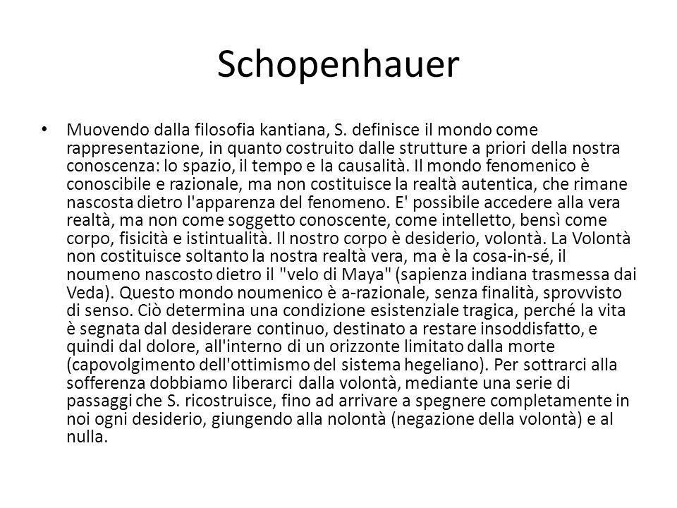 Schopenhauer Muovendo dalla filosofia kantiana, S. definisce il mondo come rappresentazione, in quanto costruito dalle strutture a priori della nostra