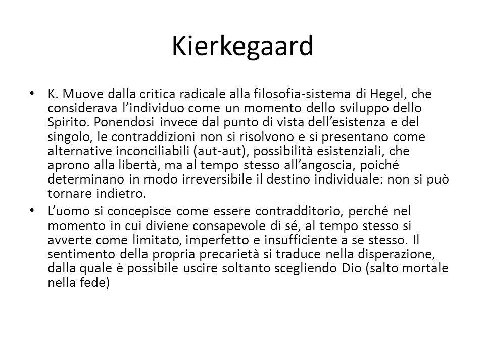 Kierkegaard K. Muove dalla critica radicale alla filosofia-sistema di Hegel, che considerava lindividuo come un momento dello sviluppo dello Spirito.