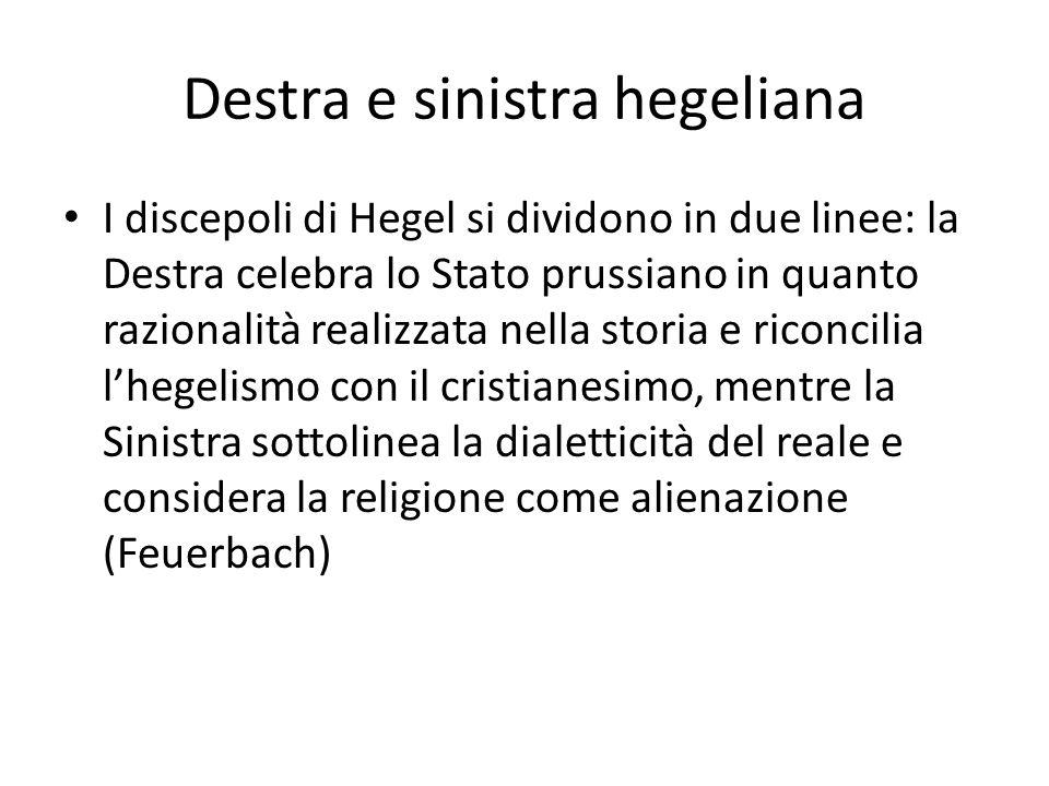 Destra e sinistra hegeliana I discepoli di Hegel si dividono in due linee: la Destra celebra lo Stato prussiano in quanto razionalità realizzata nella