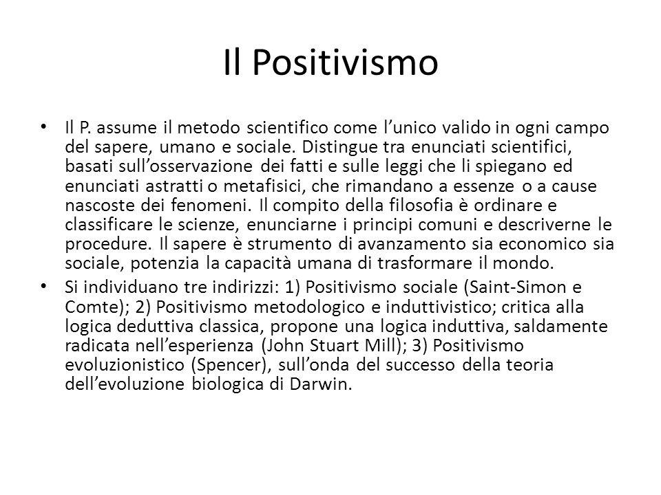 Il Positivismo Il P. assume il metodo scientifico come lunico valido in ogni campo del sapere, umano e sociale. Distingue tra enunciati scientifici, b