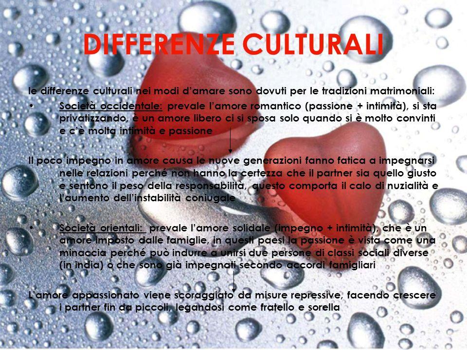 DIFFERENZE CULTURALI le differenze culturali nei modi damare sono dovuti per le tradizioni matrimoniali: Società occidentale: prevale lamore romantico