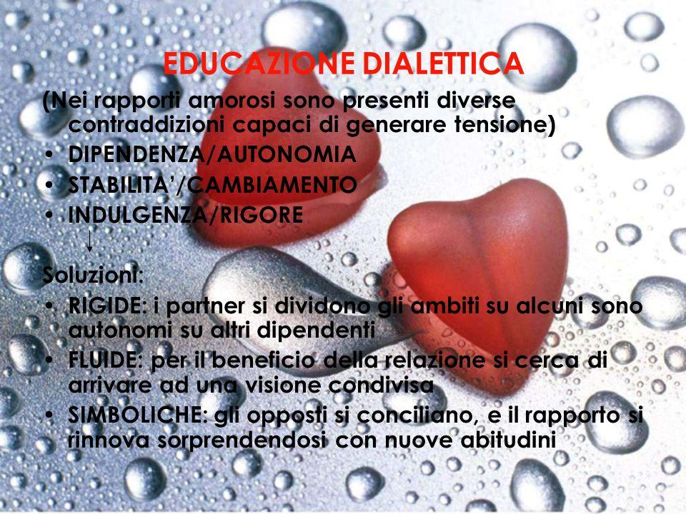 EDUCAZIONE DIALETTICA (Nei rapporti amorosi sono presenti diverse contraddizioni capaci di generare tensione) DIPENDENZA/AUTONOMIA STABILITA/CAMBIAMEN