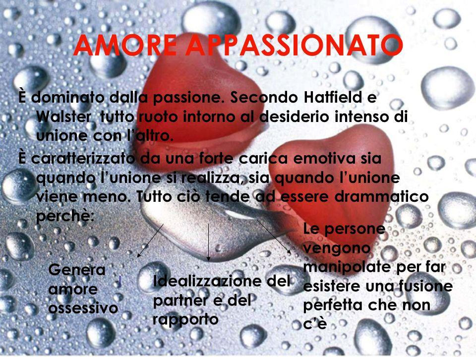 AMORE APPASSIONATO È dominato dalla passione. Secondo Hatfield e Walster tutto ruoto intorno al desiderio intenso di unione con laltro. È caratterizza