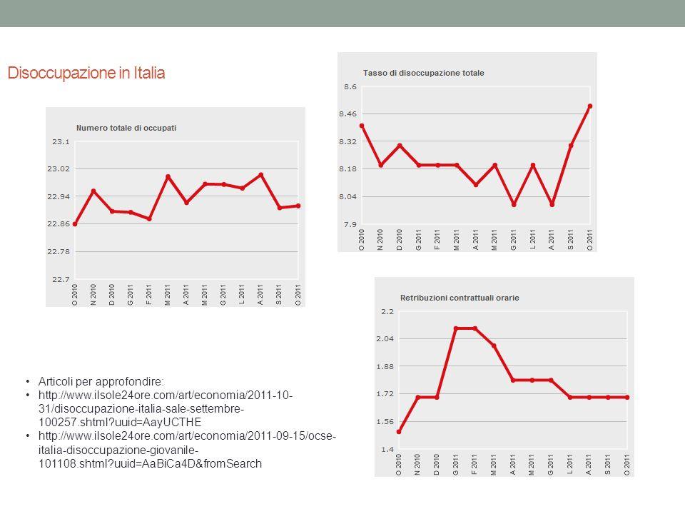 Disoccupazione in Italia Articoli per approfondire: http://www.ilsole24ore.com/art/economia/2011-10- 31/disoccupazione-italia-sale-settembre- 100257.s