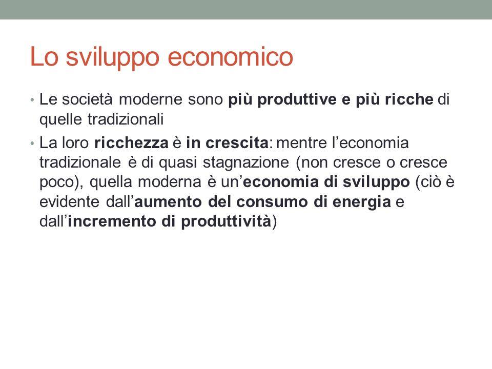 Lo sviluppo economico Le società moderne sono più produttive e più ricche di quelle tradizionali La loro ricchezza è in crescita: mentre leconomia tra