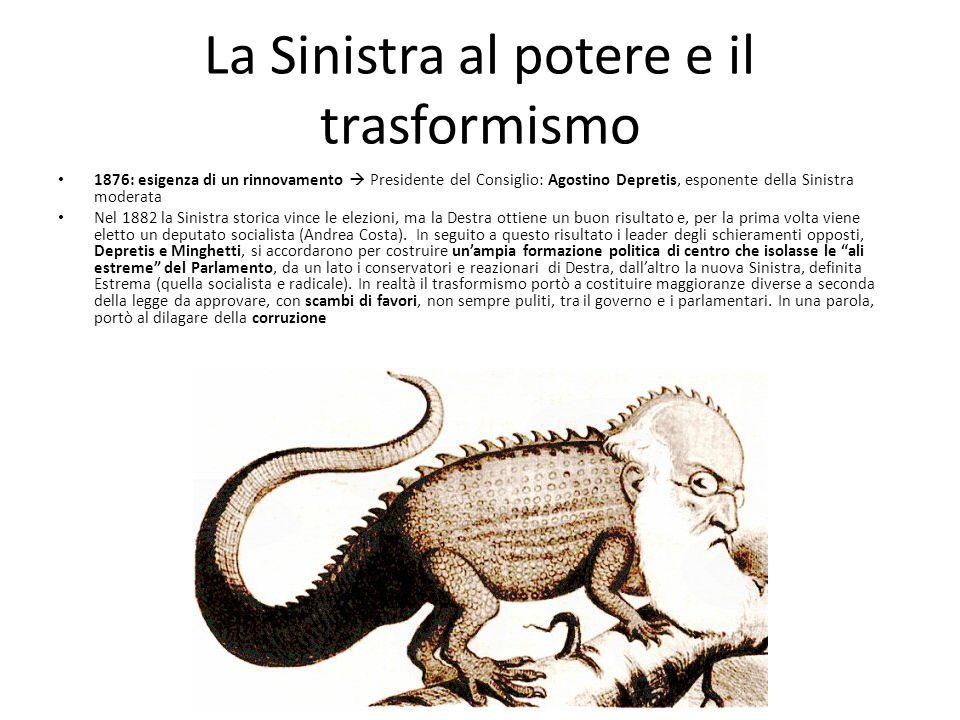 La Sinistra al potere e il trasformismo 1876: esigenza di un rinnovamento Presidente del Consiglio: Agostino Depretis, esponente della Sinistra modera