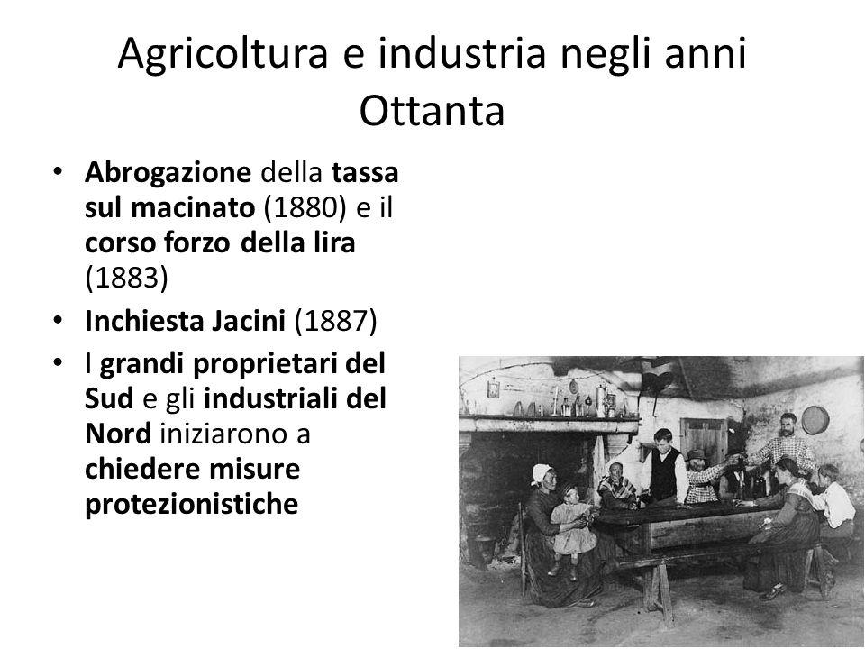 Agricoltura e industria negli anni Ottanta Abrogazione della tassa sul macinato (1880) e il corso forzo della lira (1883) Inchiesta Jacini (1887) I gr