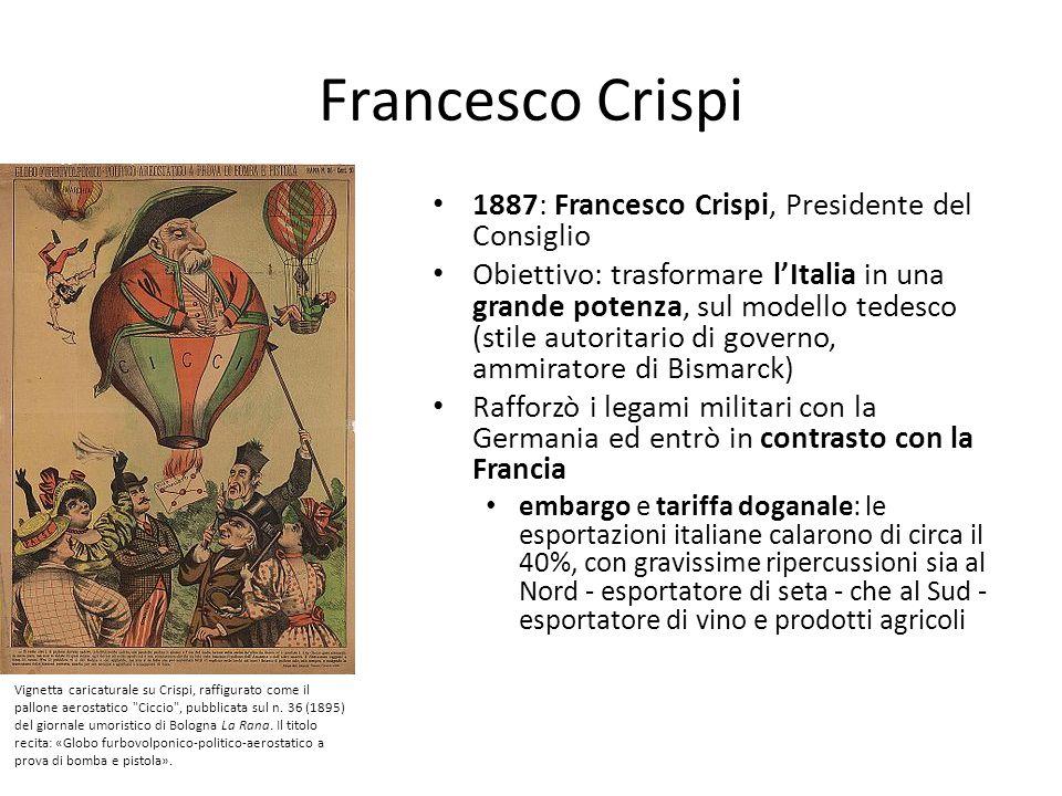 Francesco Crispi 1887: Francesco Crispi, Presidente del Consiglio Obiettivo: trasformare lItalia in una grande potenza, sul modello tedesco (stile aut