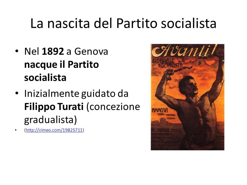 La nascita del Partito socialista Nel 1892 a Genova nacque il Partito socialista Inizialmente guidato da Filippo Turati (concezione gradualista) (http
