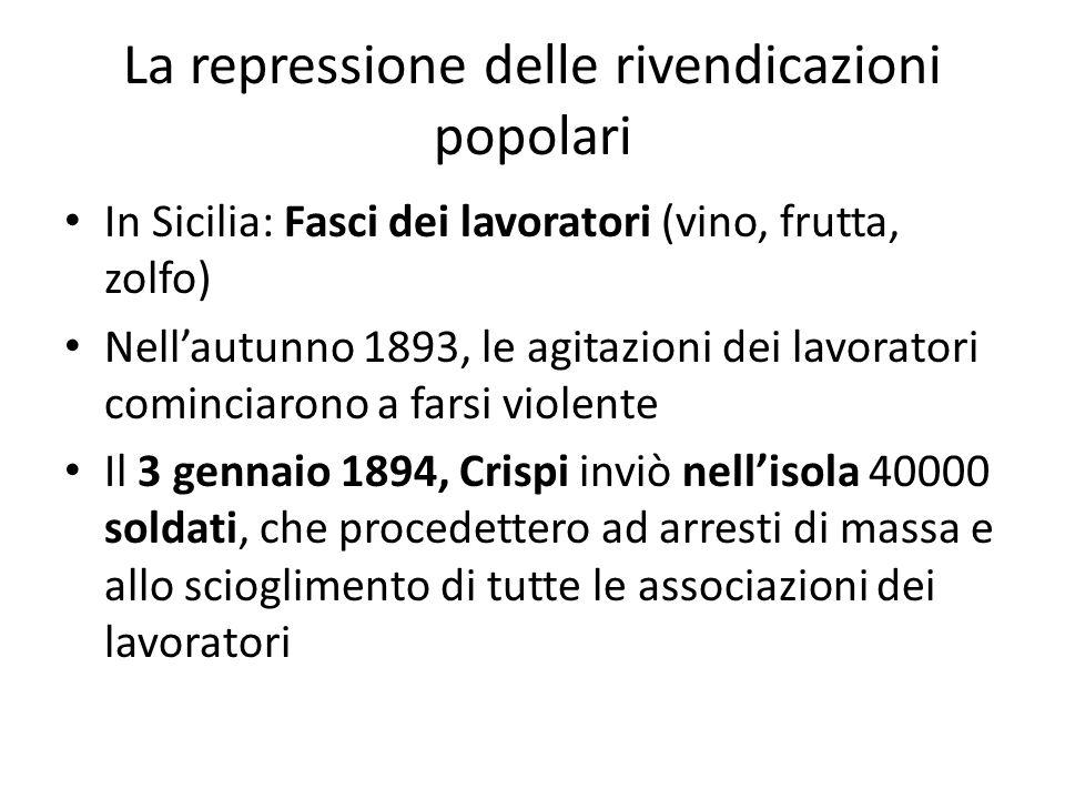 La repressione delle rivendicazioni popolari In Sicilia: Fasci dei lavoratori (vino, frutta, zolfo) Nellautunno 1893, le agitazioni dei lavoratori com