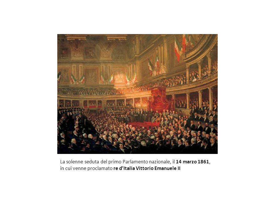 La solenne seduta del primo Parlamento nazionale, il 14 marzo 1861, in cui venne proclamato re dItalia Vittorio Emanuele II
