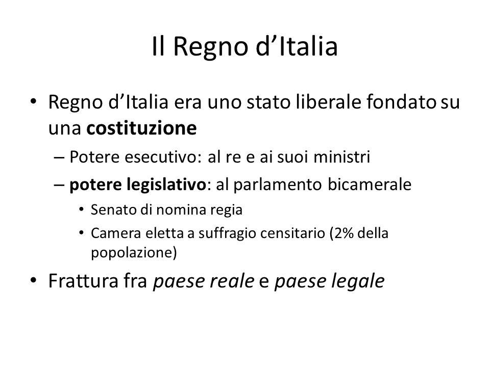 Il Regno dItalia Regno dItalia era uno stato liberale fondato su una costituzione – Potere esecutivo: al re e ai suoi ministri – potere legislativo: a