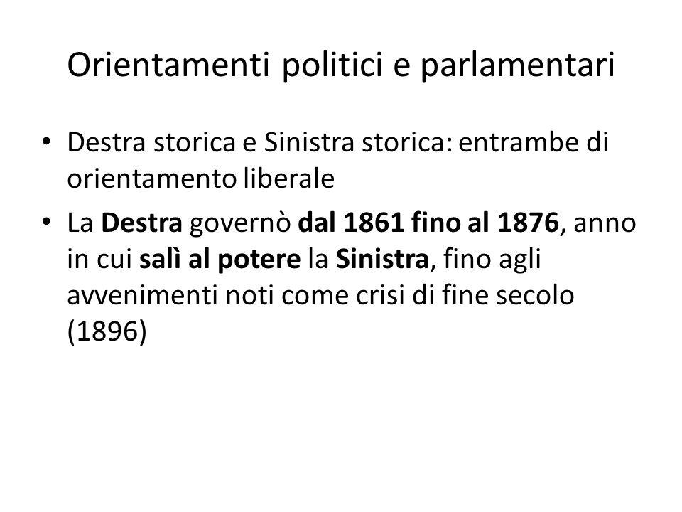 Orientamenti politici e parlamentari Destra storica e Sinistra storica: entrambe di orientamento liberale La Destra governò dal 1861 fino al 1876, ann