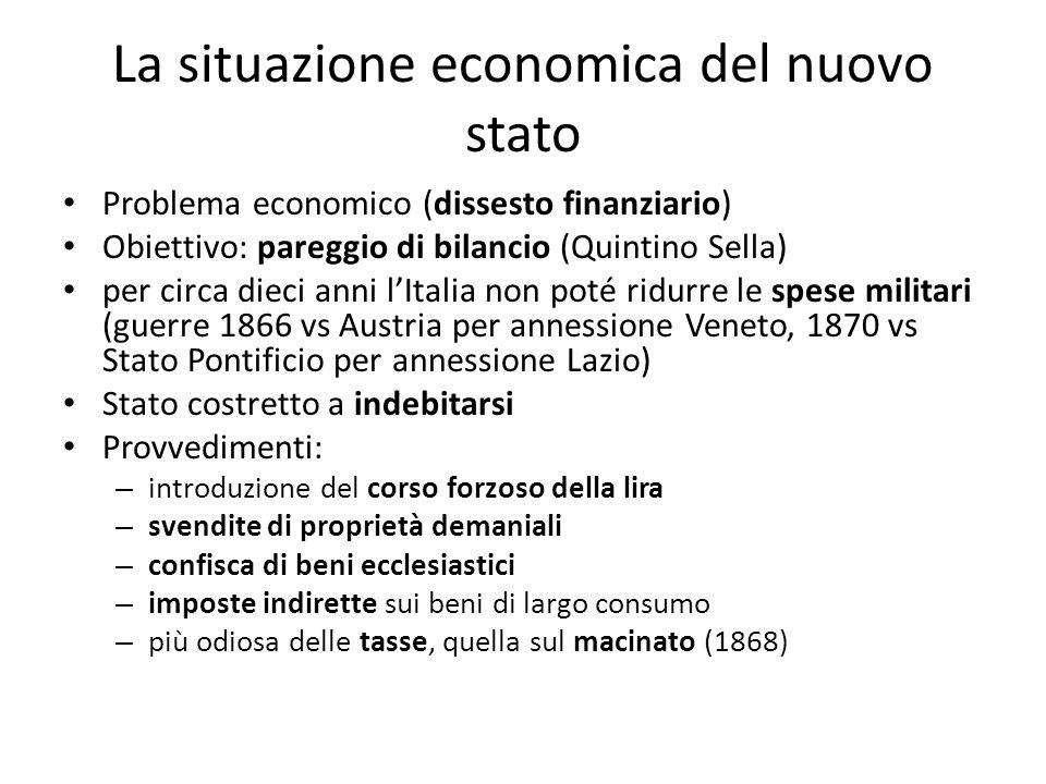 La situazione economica del nuovo stato Problema economico (dissesto finanziario) Obiettivo: pareggio di bilancio (Quintino Sella) per circa dieci ann