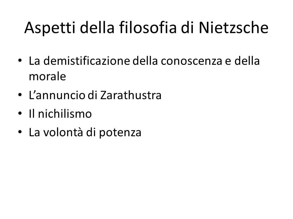 Aspetti della filosofia di Nietzsche La demistificazione della conoscenza e della morale Lannuncio di Zarathustra Il nichilismo La volontà di potenza