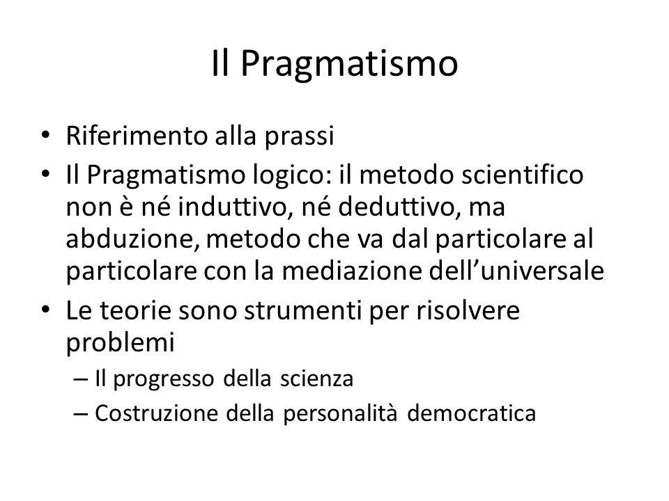 Il Pragmatismo Riferimento alla prassi Il Pragmatismo logico: il metodo scientifico non è né induttivo, né deduttivo, ma abduzione, metodo che va dal