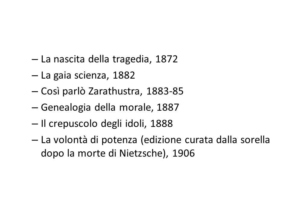 – La nascita della tragedia, 1872 – La gaia scienza, 1882 – Così parlò Zarathustra, 1883-85 – Genealogia della morale, 1887 – Il crepuscolo degli idol