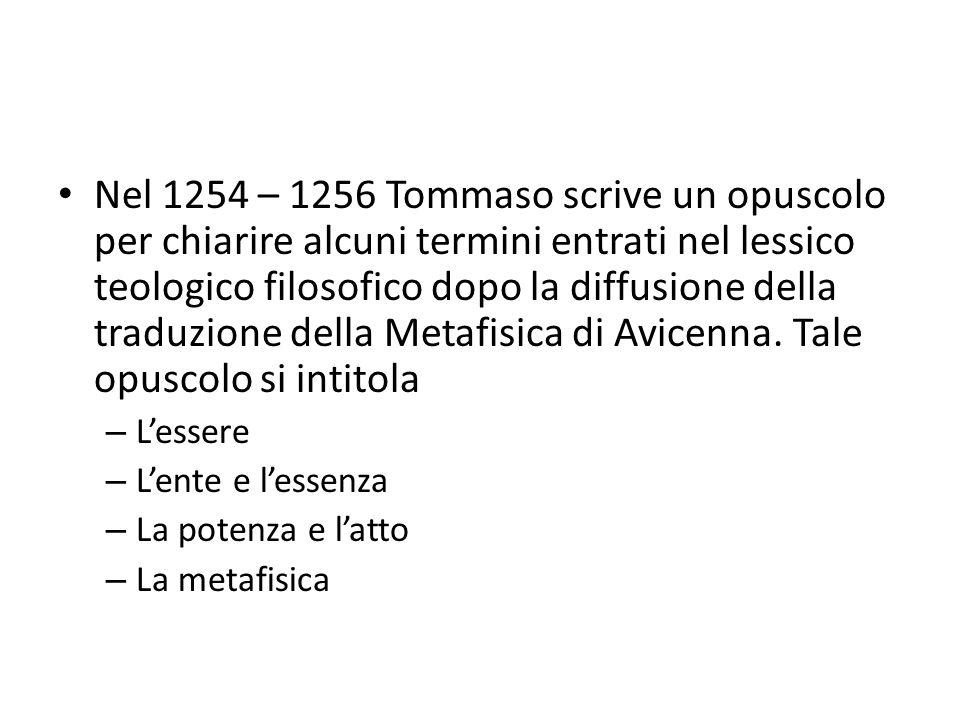 Nel 1254 – 1256 Tommaso scrive un opuscolo per chiarire alcuni termini entrati nel lessico teologico filosofico dopo la diffusione della traduzione de