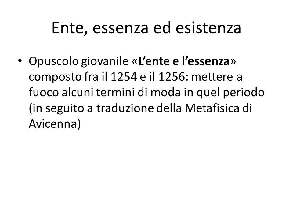 Ente, essenza ed esistenza Opuscolo giovanile «Lente e lessenza» composto fra il 1254 e il 1256: mettere a fuoco alcuni termini di moda in quel period