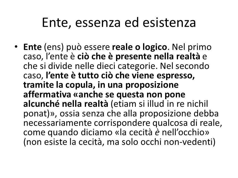 Ente, essenza ed esistenza Ente (ens) può essere reale o logico. Nel primo caso, lente è ciò che è presente nella realtà e che si divide nelle dieci c