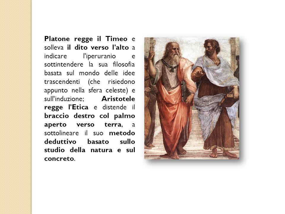 Platone regge il Timeo e solleva il dito verso l'alto a indicare l'iperuranio e sottintendere la sua filosofia basata sul mondo delle idee trascendent